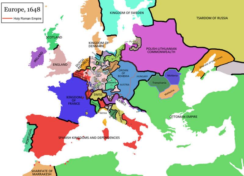 17th Century Europe Map