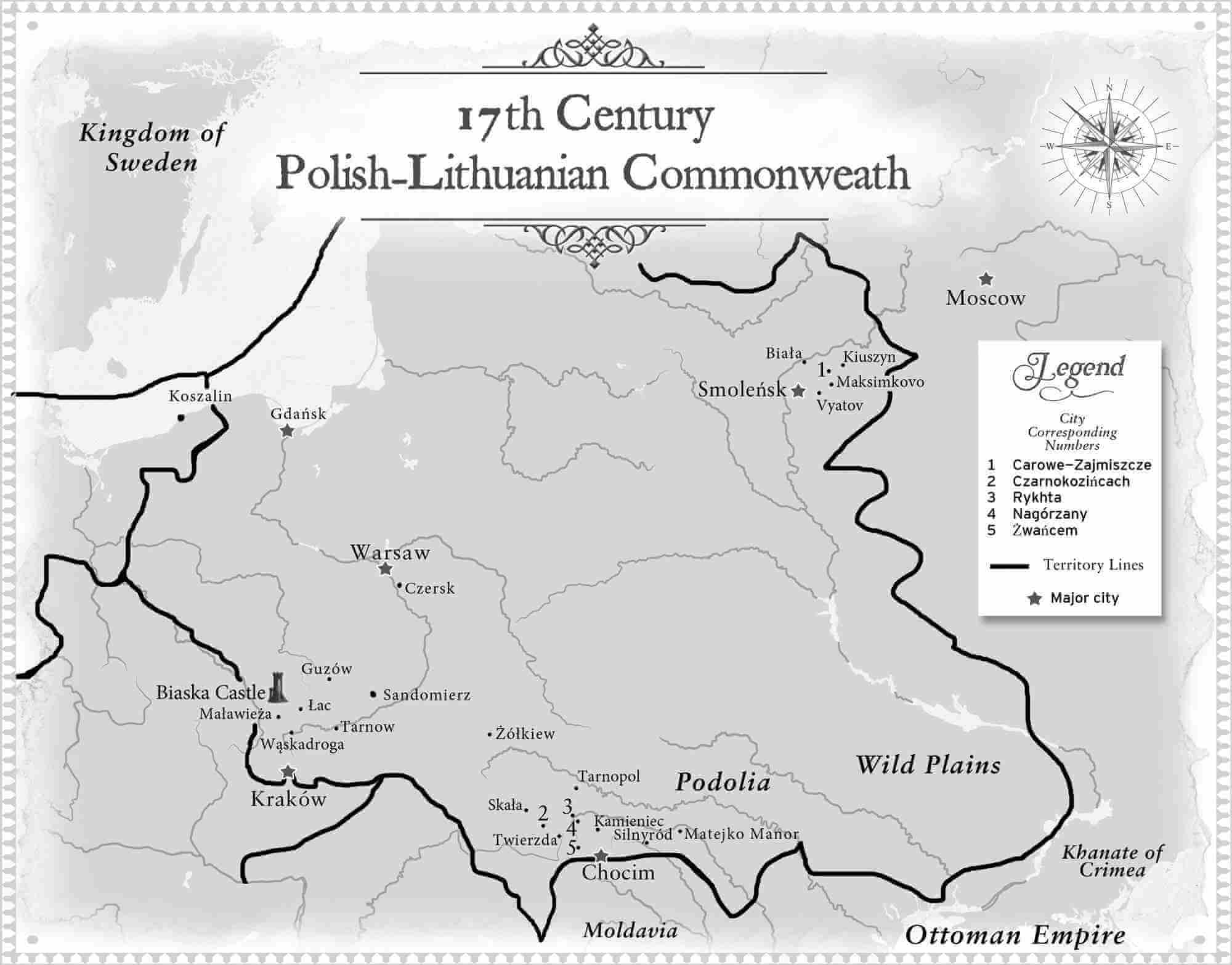 17th Century Map of Polish-Lithuanian Commonwealth