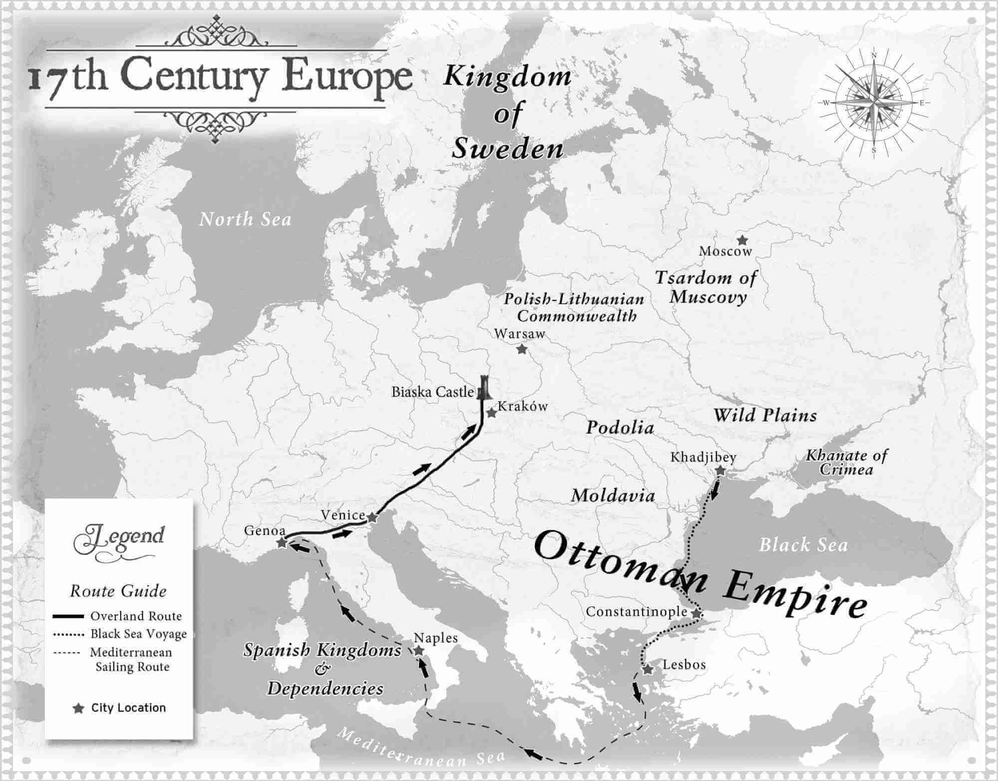 Map of 17th Century Europe