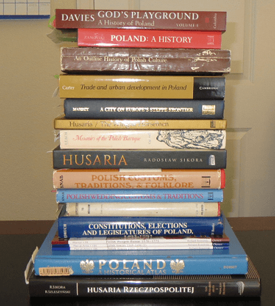 Stack of books for researching Polish Winger Hussars